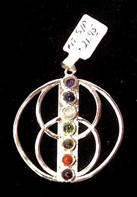 Silver Plated Triple Moon w/7 Stones Pendants
