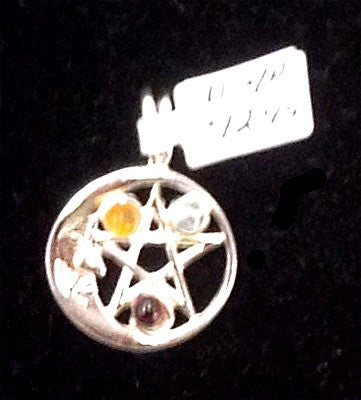 Silver Plated Pentacle & Moon w/3 Stones Pendants