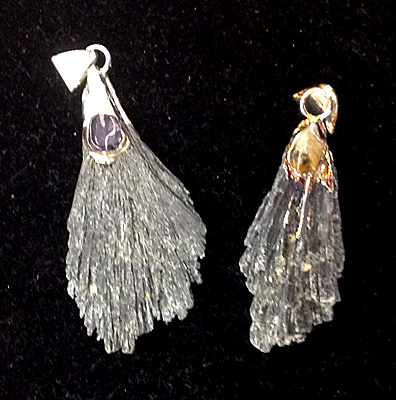 Black Kyanite Pendants-Plated Bail w/Citrine