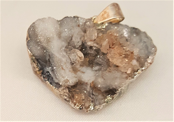 Silver Plated Druzy Quartz Pendant-Heart Shaped