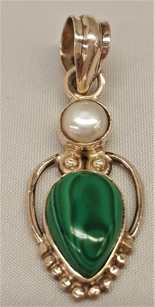 Sterling Silver Malachite and Pearl Pendant
