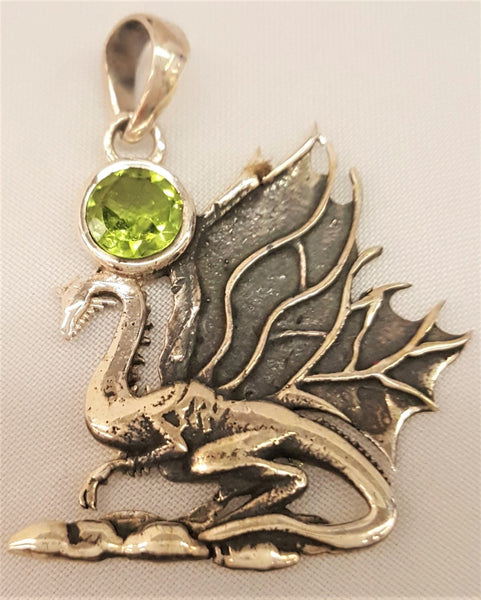 Sterling Silver Dragon Pendant with Faceted Peridot