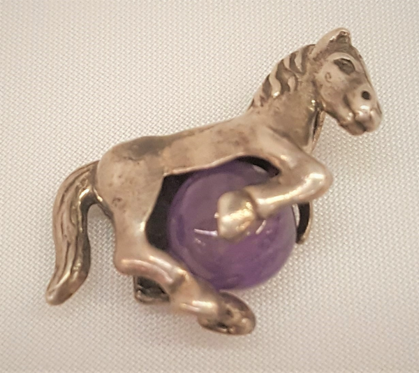 Sterling Silver Horse Pendant with Amethyst Ball