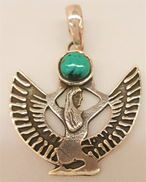 Sterling Silver Isis Turquoise Cabachon Pendant