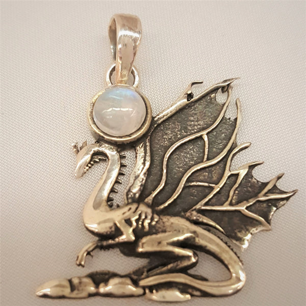 Sterling Silver Dragon Pendant with Rainbow Moonstone