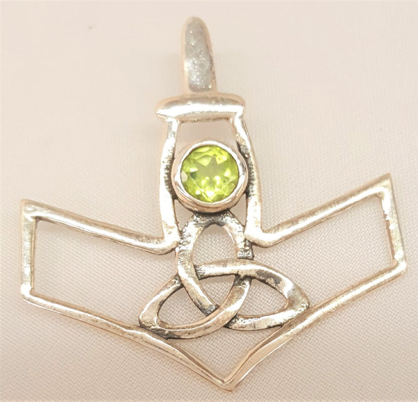 Sterling Silver Thor's Hammer with Faceted Peridot
