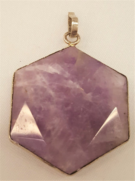 Silver Plated Faceted Amethyst Pendants