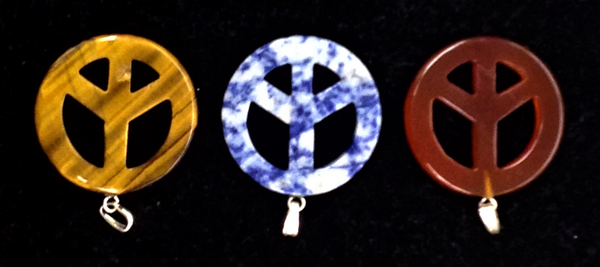 Stone Peace Symbols Pendants-Tiger Eye - Brown