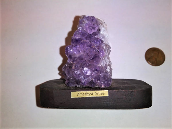 Amethyst Cluster on Wood Base - 4.5 oz