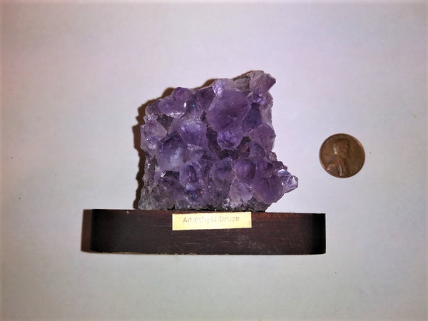 Amethyst  Cluster on Wood Base - 6.9 oz