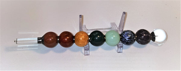 Red Jasper, Carnelian, Honey Calcite, Moss Agate, Blue Topaz, Sodalite, Amethyst, Quartz Point and Sphere Wand