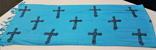 Blue Celtic Cross Scarf/Shawl