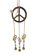Brass Peace Sign Wind Chime w/Bells