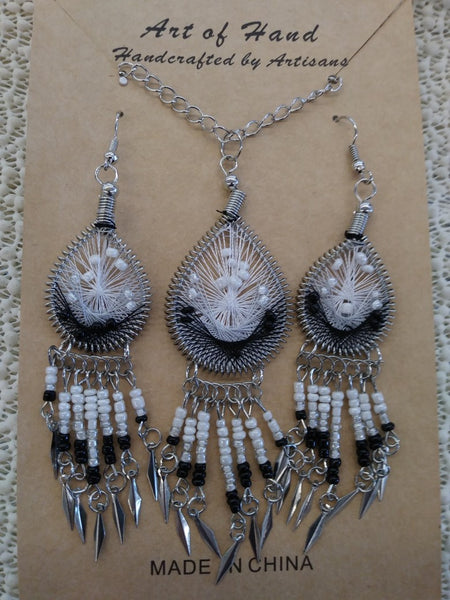 Tear Drop Woven Dangle Earrings and Necklace- White, Gray and Black