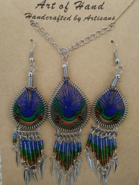 Tear Drop Woven Dangle Earrings and Necklace - Dark Blue, Green and Copper
