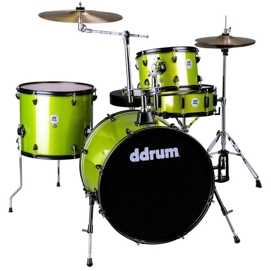 DDrum D2 Rock Kit Lime Sparkle Complete Drum Set with Cymbals