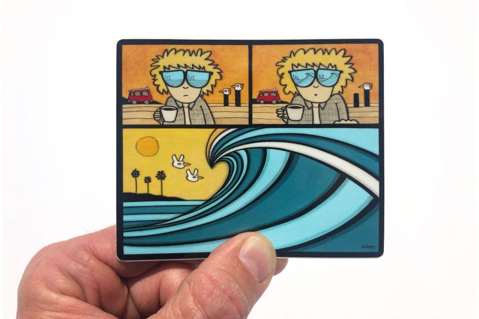 Morning Surf Check Sticker