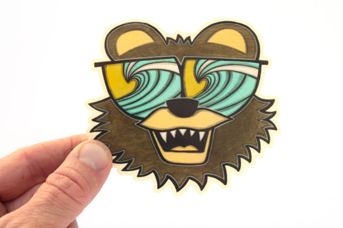 Bear Surf Check Sticker