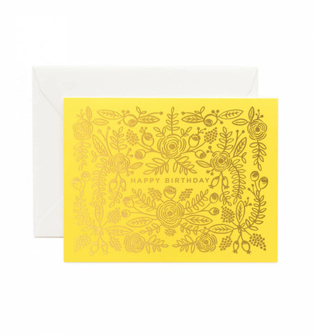 """Happy Birthday"" Yellow and Gold-leaf Notecard"