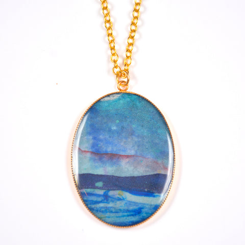 Currents Large Oval Painting Pendant