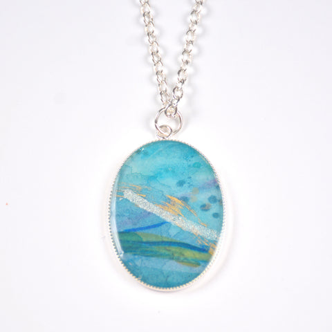 Currents Medium Oval Painting Pendant