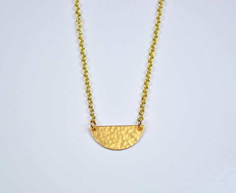 Hammered Half Circle Brass Necklace