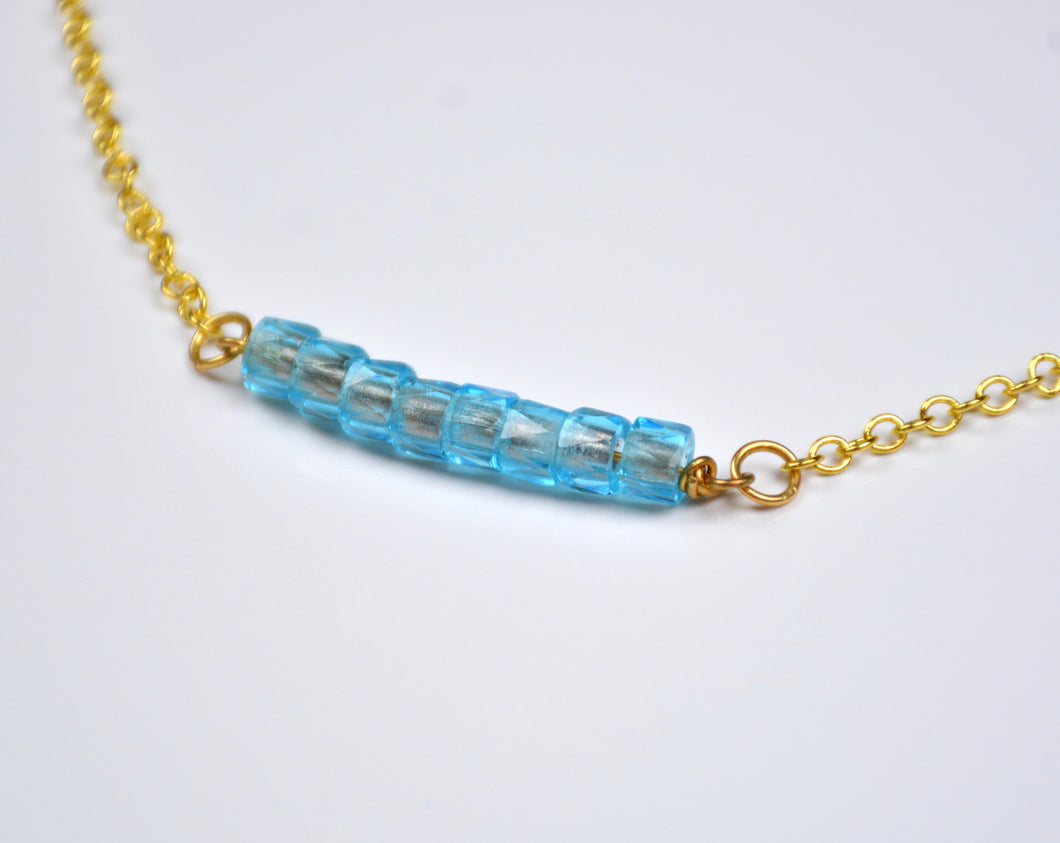 Sky Blue Beaded Bar Necklace