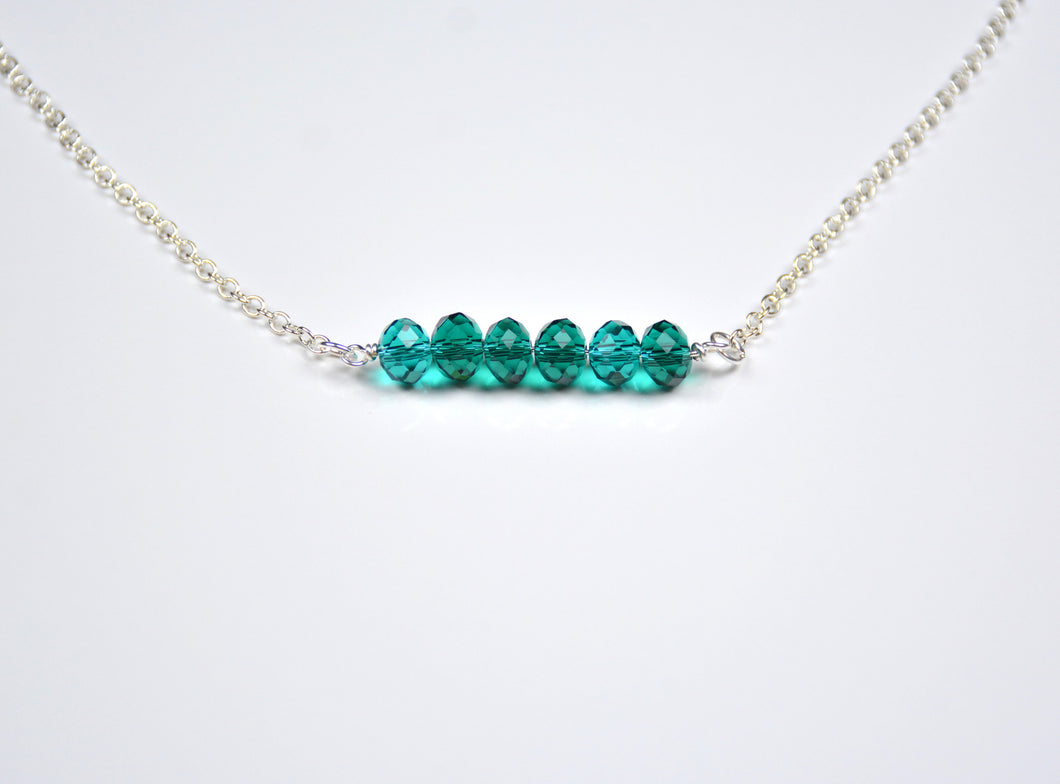 Teal Beaded Bar Necklace