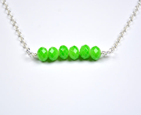 Peridot Beaded Bar Necklace