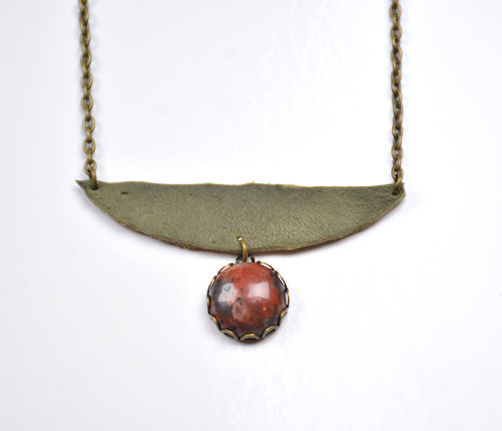 Jasper and Leather Necklace