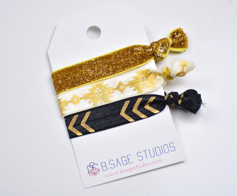 Black and Gold 3-Pack Hair-ties