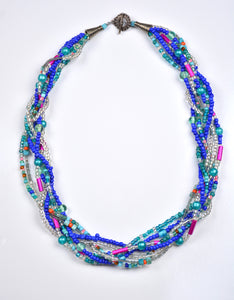 Blue Beaded Twist Necklace
