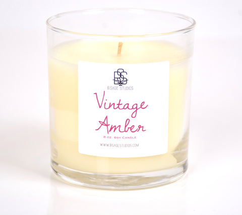 Vintage Amber Soy Candle, 8oz