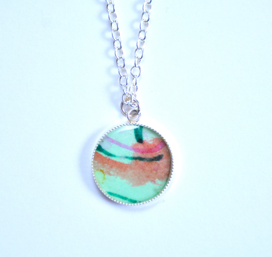 Small Painting Pendant Necklace