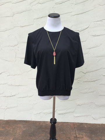 Marie Top- Black 80's Silky Pullover