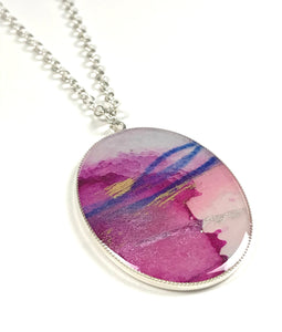 Large Oval Painting Pendant