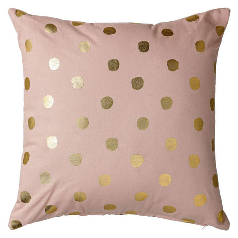 Nude & Gold Cotton Pillow with Metallic Dots