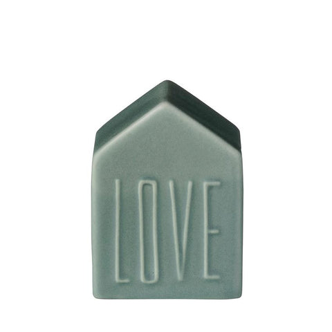 "Stoneware ""Love"" House in Moss Green"