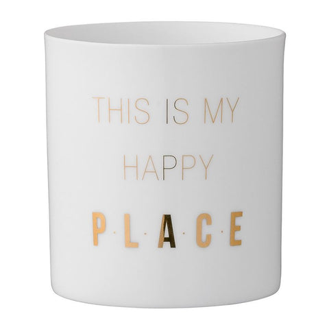 "White & Gold Porcelain Votive with ""This Is My Happy Place"""