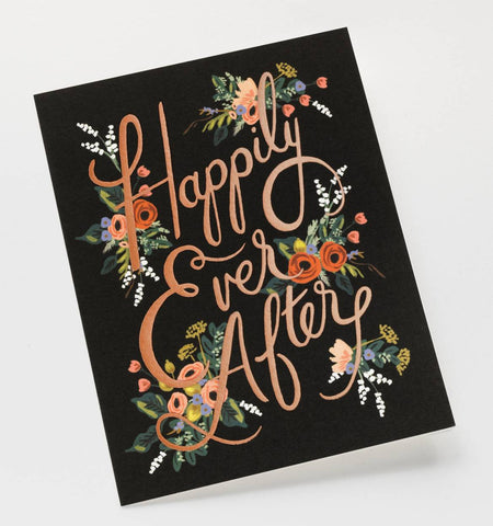 """Happily Ever After"" Wedding Notecard"
