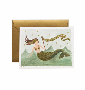 Vintage Mermaid Birthday Notecard