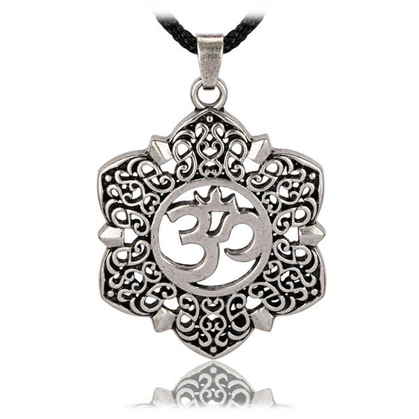 Filigree lotus flower om symbol pendant necklace viva meditation filigree lotus flower om symbol pendant necklace mightylinksfo