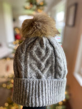 Grey Detachable Pom Beanie