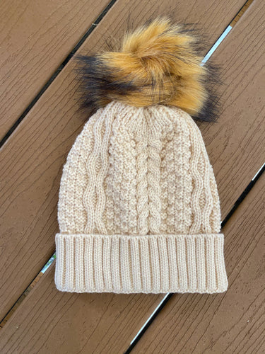 Beige Detachable Pom Beanie