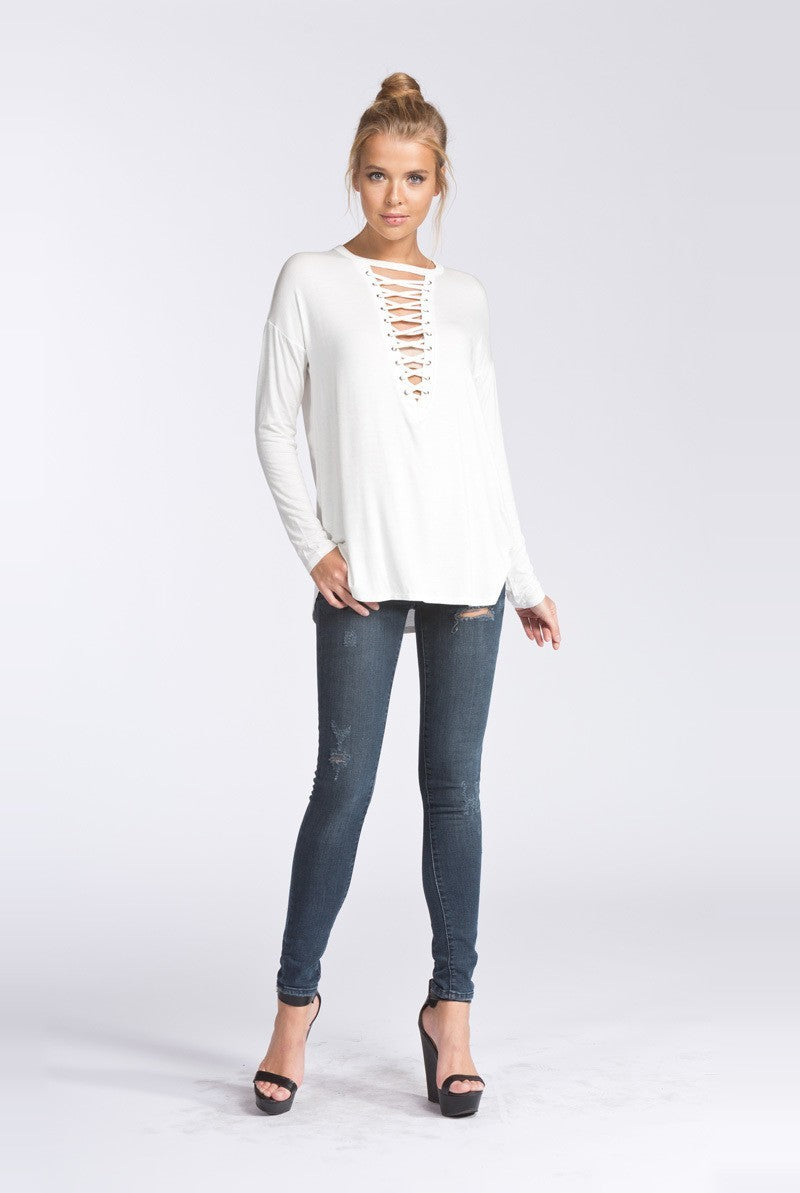 Georgia Lace up Top in Ivory