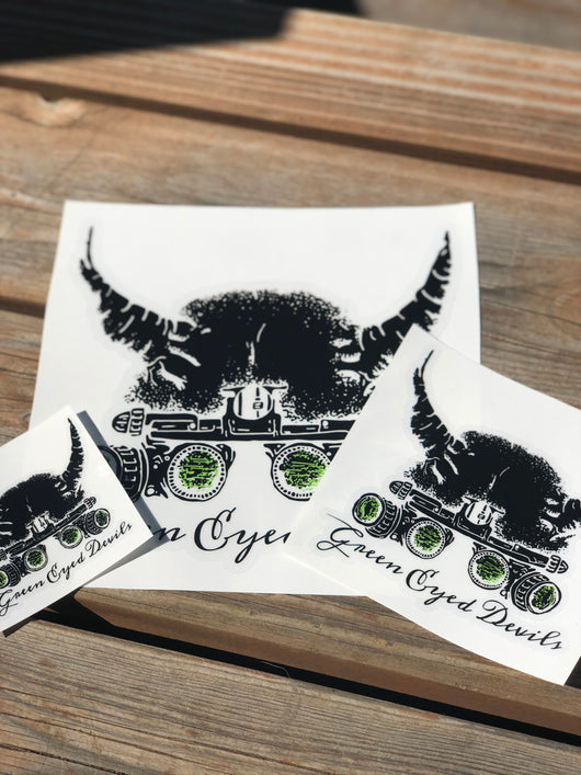 Green Eyed Devil Helmet Vinyl Decal