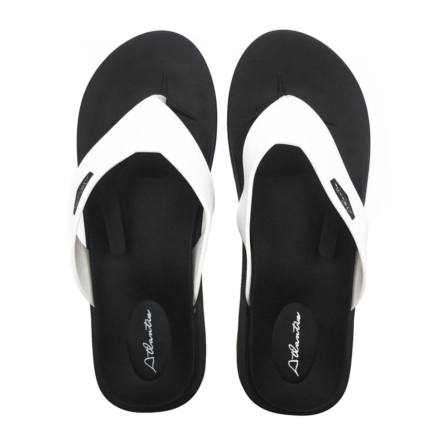 Waterfall White-Black Flip Flops - Atlantis Shoes