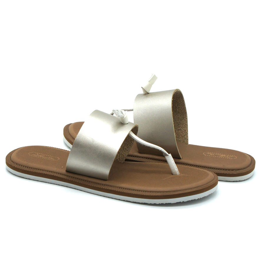 Super Comfort Silver Flip Flops - Atlantis Shoes