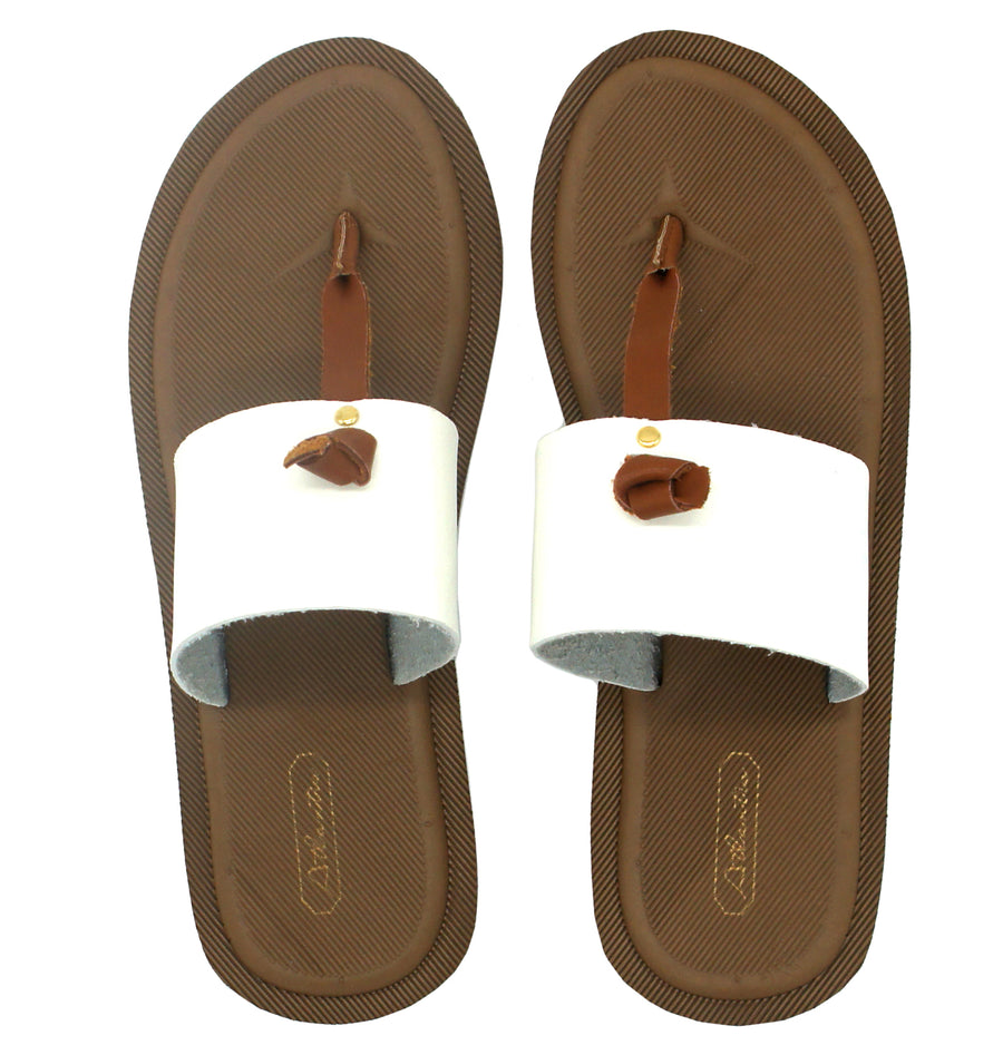 Super Comfort White Flip Flops - Atlantis Shoes