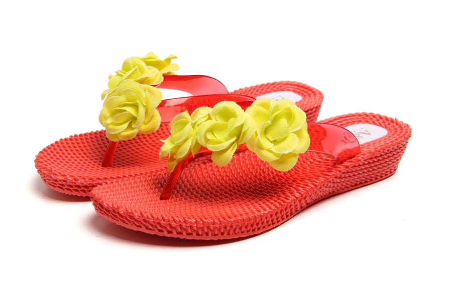Three Flowers Red-Yellow Wedge Flip Flops - Atlantis Shoes